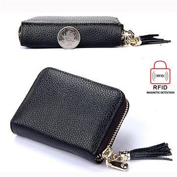 RFID Antimagnetic Genuine Leather 15 Card Slots Multi-slots Tassel Card Holder - US$11.27