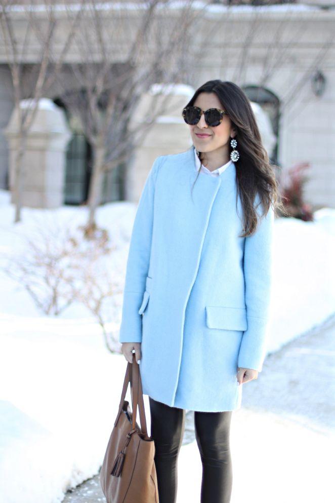 ice blue zara coat   S T Y L E   Fashion, Autumn fashion ...