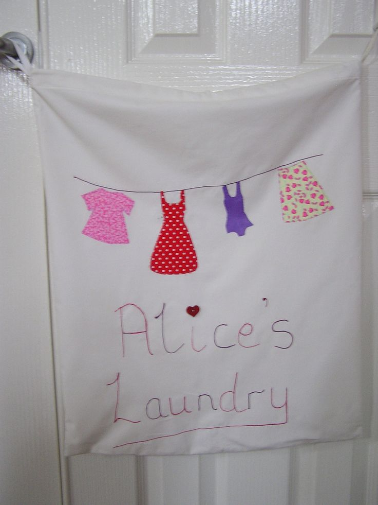 Drawstring laundry bag for my daughter to hang on her bedroom door. Included a purple leotard to reflect her love of dancing and gymnastics.
