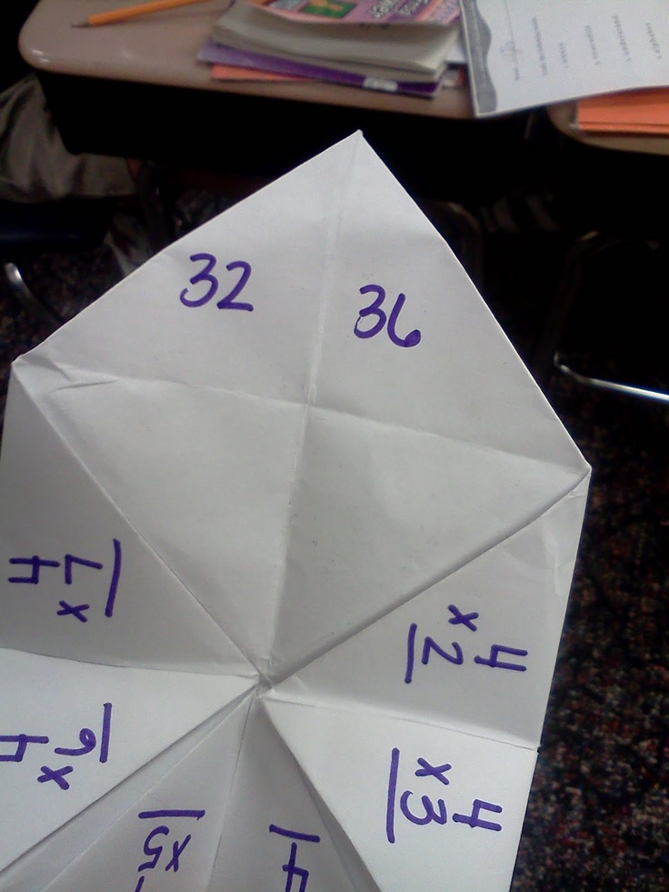 Using 'fortune tellers' proactively! Students practice their facts with these instead of using flash cards.