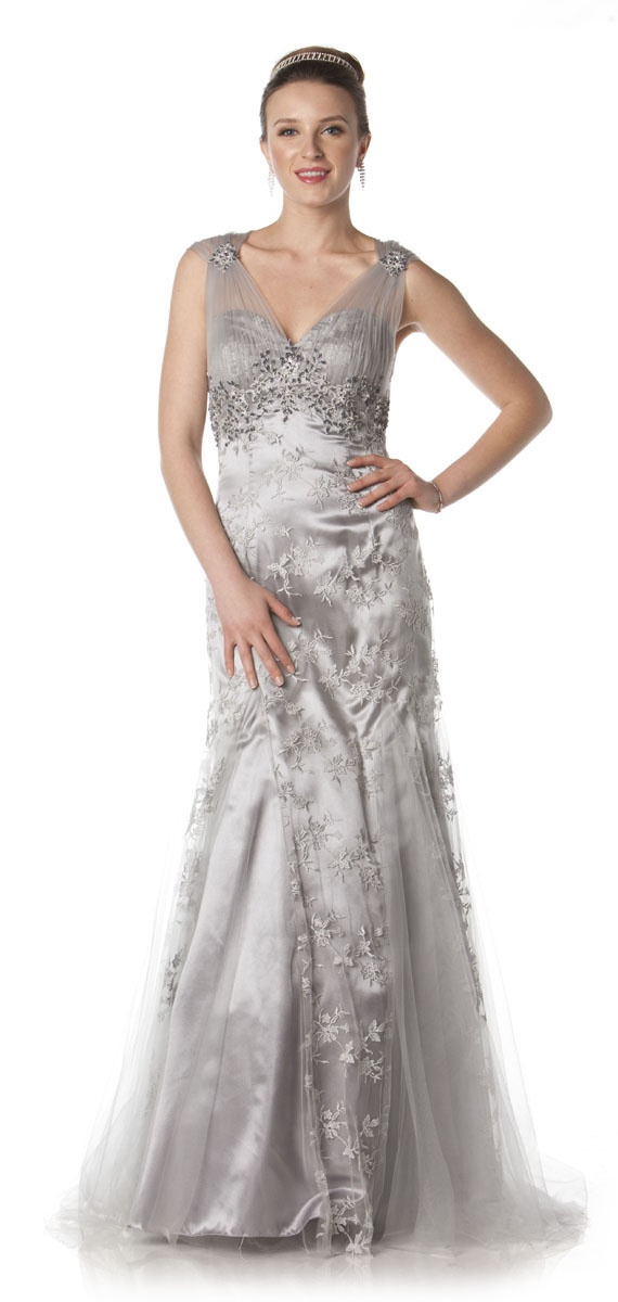 Elegant long mother of bride dress in color silver white for Silver and white wedding dresses
