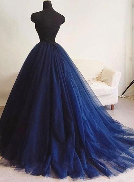 387ad30d355 Dark blue tulle long prom dress