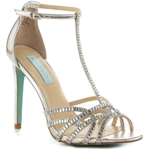 Something Blue By Betsey Johnson Women's Ruby - Silver (135 AUD) ❤ liked on Polyvore featuring shoes, betsey johnson, strappy high heel shoes, adjustable strap shoes, high heel shoes and synthetic shoes