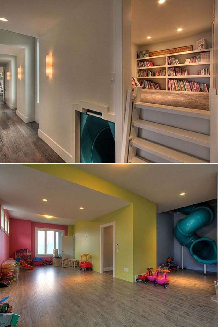 ♥♥LOVE♥♥ reading nook with slide that goes down to the playroom!
