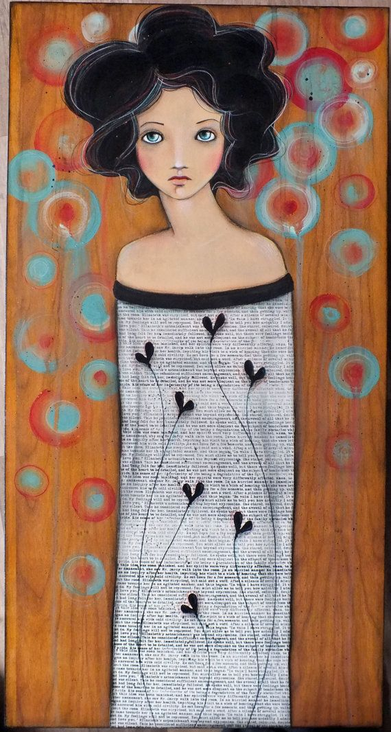 OOAK Original Folk Art Woman Black Hearts acrylic by Pennystamper, $110.00