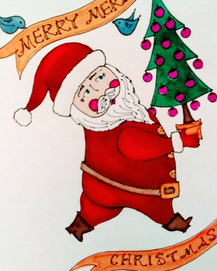 Merry, Merry!  Jolly Santa ~ Original Custom Designed Pen & Ink Watercolor  ©Suzanne MacCrone Rogers