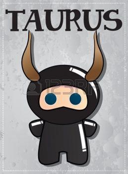 Segno zodiacale Toro con il simpatico personaggio ninja, vettore photo