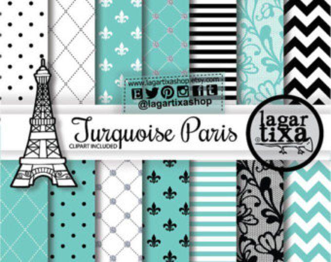 Papel Digital Fondos Paris Francia Torre Eiffel Corazones Encaje Damask Flor de Liz Rosa Negro Blanco Invitaciones Blog Web scrapbooking