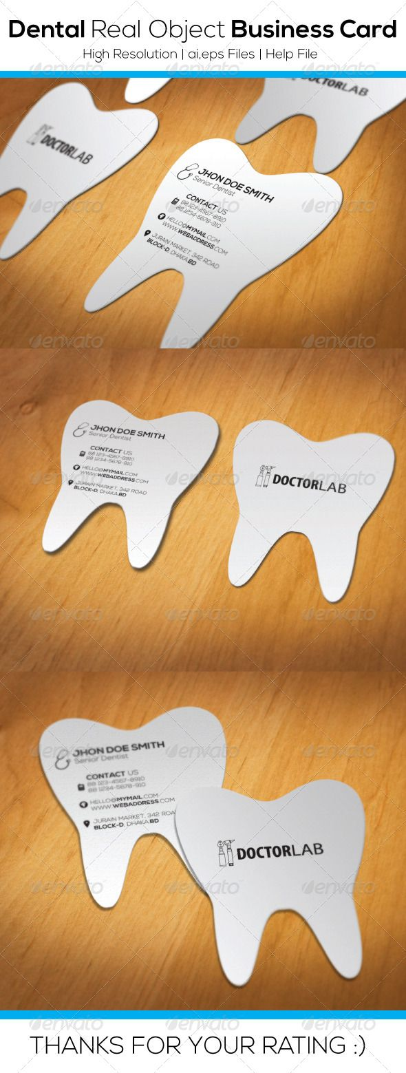 Dental Real Object Business Card - Real Objects Business Cards