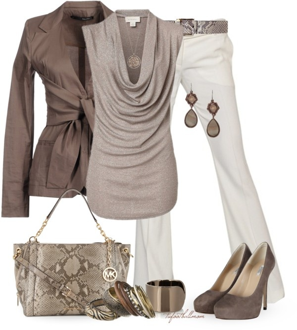 Light brown blouse, white pants, brown jacket, brown pumps, trapeze bag and belt with a snakeskin pattern, accessories