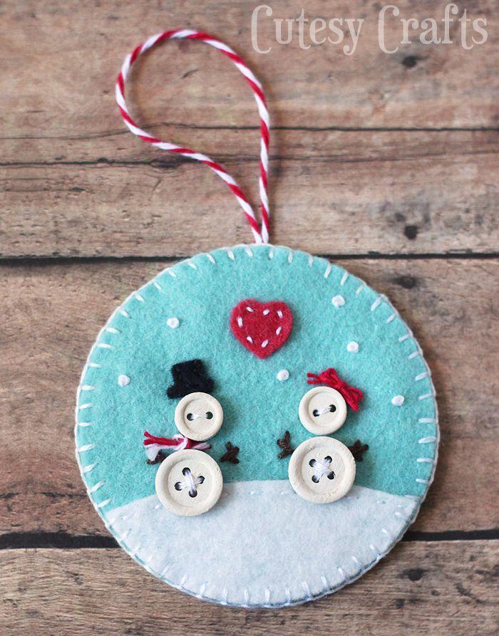 Button and Felt DIY Christmas Ornaments Felt christmas