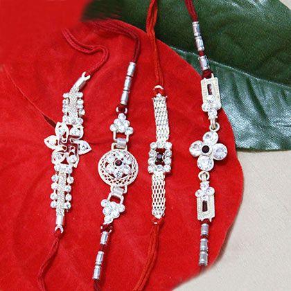Auspicious Touch of Silver Rakhi for #Brother. Shop at  http://rakhi.giftalove.com/silver-rakhi-735.html