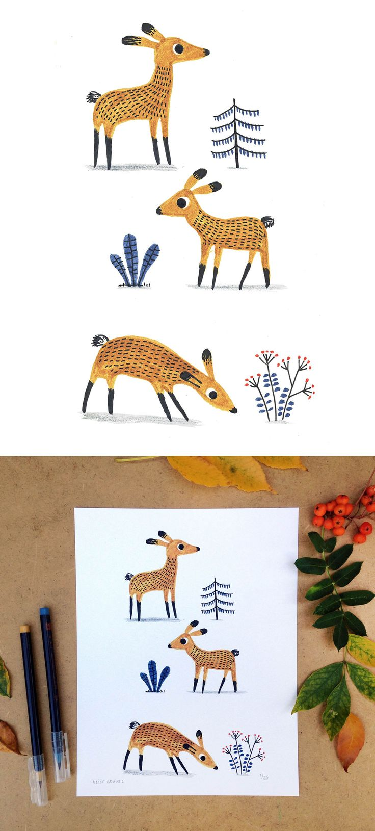 Elise Gravel illustration • print for sale   • deer • cerfs • print • drawing • animal • forest • art • watercolour • cute • brown • blue