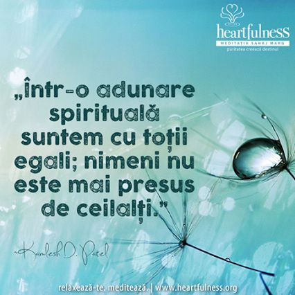 """""""Într-o adunare spirituală suntem cu toții egali; nimeni nu este mai presus de ceilalți."""" ~ Kamlesh D Patel #heartfulness   #inspiratii_zilnice   #hfnro   Heartfulness Romania - Google+"""