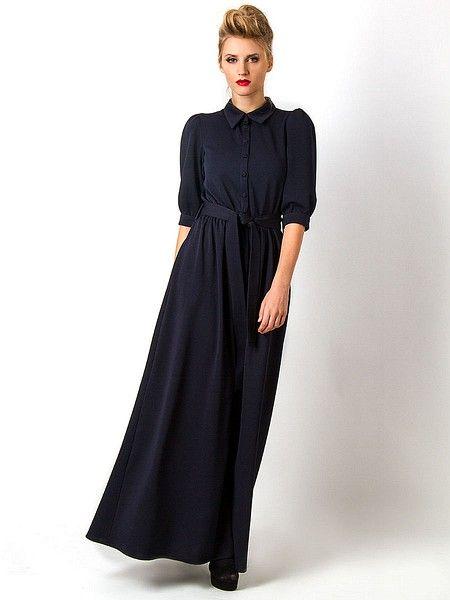Платье Vika Smolyanitskaya. Цвет темно-синий. Категории: Длинные платья, Повседневные платья.