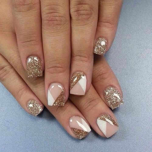 Gold Pink White - Nailart