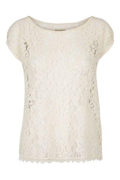 Blonde top med kort ærme - creme. Tina Wodstrup design.