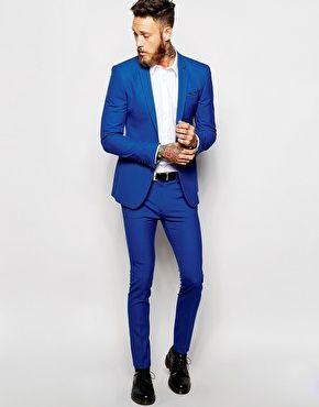 ASOS - Costume ultra cintré - Bleu