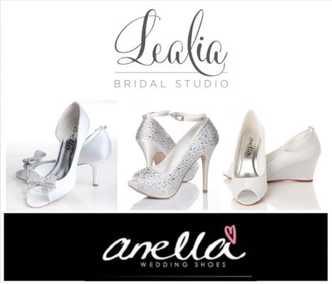 Lealia Bridal Studio is a proud stockist of Anella Wedding shoes.  Anella Wedding shoes are manufactured by the largest bridal shoe company in the world, therefore we ensure your shoes are of top quality and crafted for absolute comfort.  You are an individual with a specific style or look you wish to achieve; in achieving this aim, we advise on sizing, fit, colour and style based on your theme and personality to help you find the perfect shoe to make you feel and look fabulo