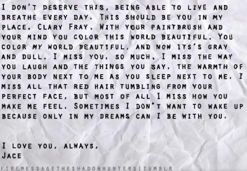 Dear Clary, I miss you ... part 2