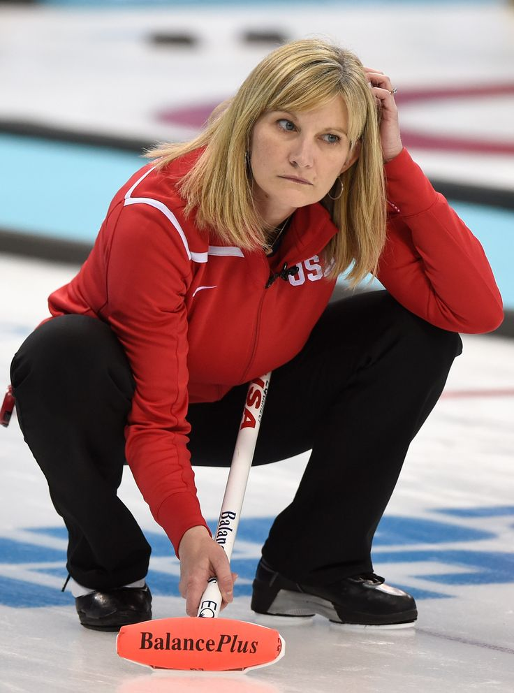 Erika Brown of USA reacts during Curling Women's Round