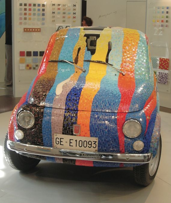 """Mosaic-covered Fiat by Aquae Musivae - Diary of a Tile Addict """"At Cersaie 2005 Italian mosaic company Aquae Musivae displayed a crowd-stopping mosaic-covered vintage Fiat 500..."""