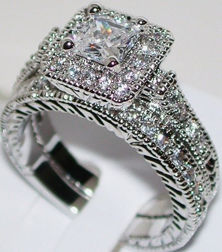 Gold clad vtg princess cut diamond engagement ring wedding band set 7