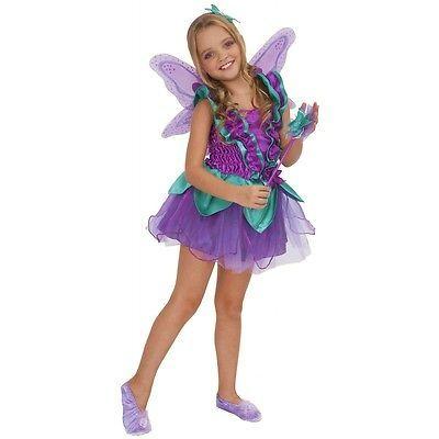Purple Fairy Costume Kids Pixie Halloween Fancy Dress | eBay