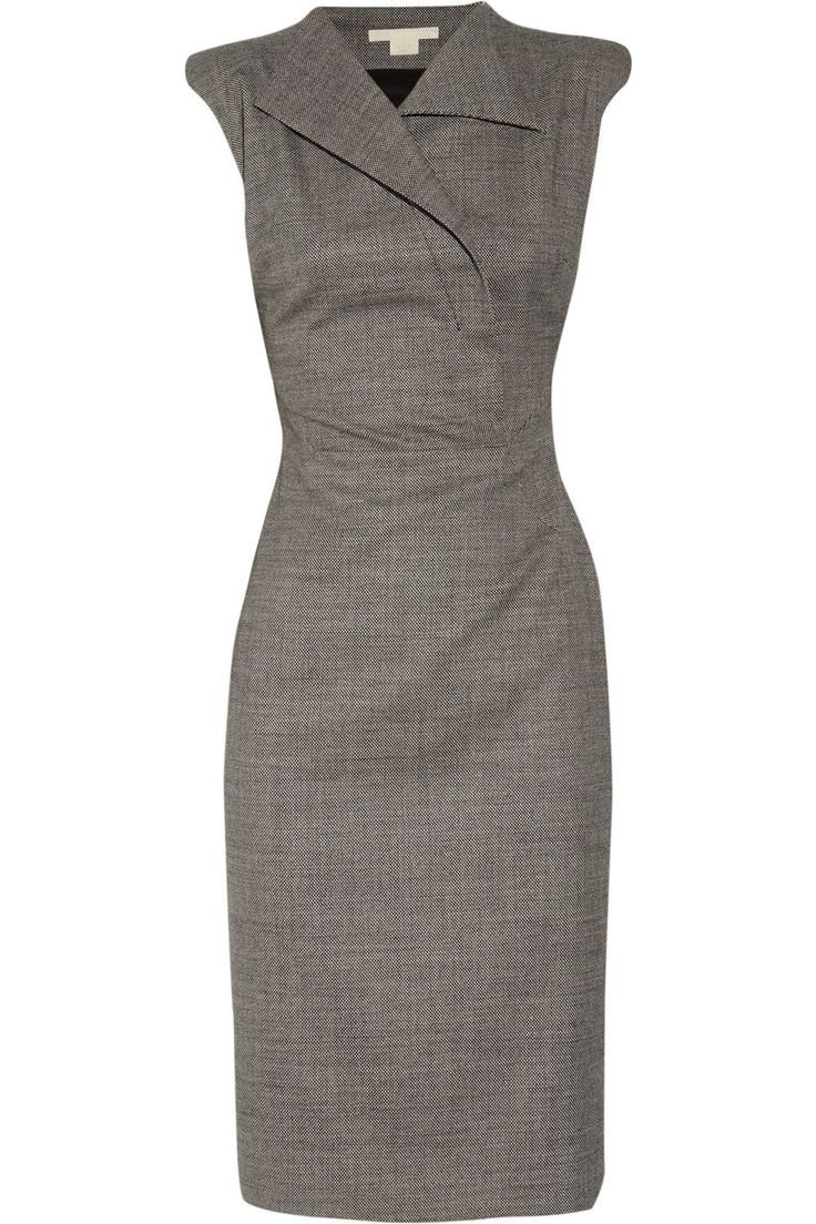 Detailed front straight dress by Antonio Berardi   The Antonio Berardi sharp-shouldered stretch-wool dress features black ...