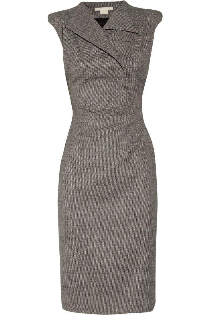 Detailed front straight dress by Antonio Berardi | The Antonio Berardi sharp-shouldered stretch-wool dress features black ...