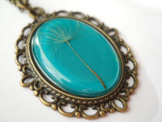 Dandelion pendant green resin jewelry antique brass by LightPurple