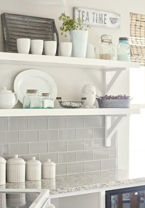 love the clear glass tile w/ white grout
