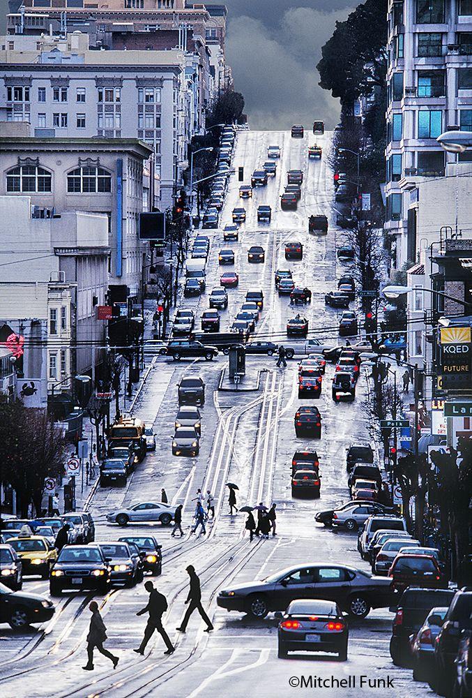 California Street On Nob Hill On Rainy