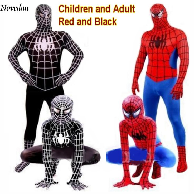 Marvel Spiderman Adult + Kids Cosplay Costumes - Red + Black