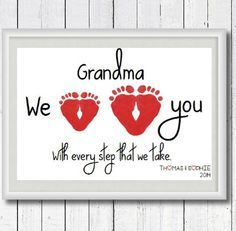 A 60th Birthday Gift for Mom: Personalized Grandma We Love You With Every Step We Take Footprint Art Print by Perfect Little Prints @ Etsy