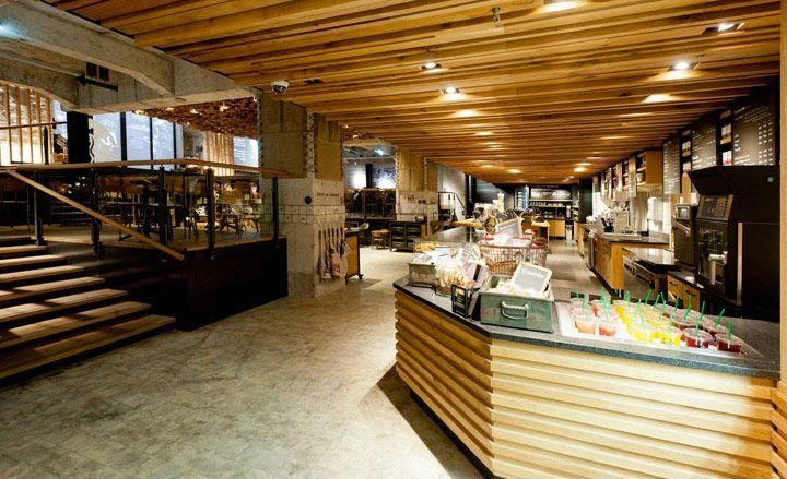 Starbucks coffee laboratory in Amsterdam. Non cookie-cutter design.