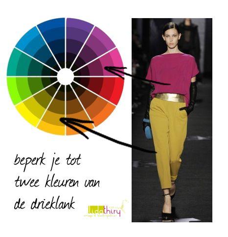 kleurcombinatie-met-twee-kleuren-van-de-drieklank #kleurcombinatie #colorcombination klik op de foto voor meer informatie