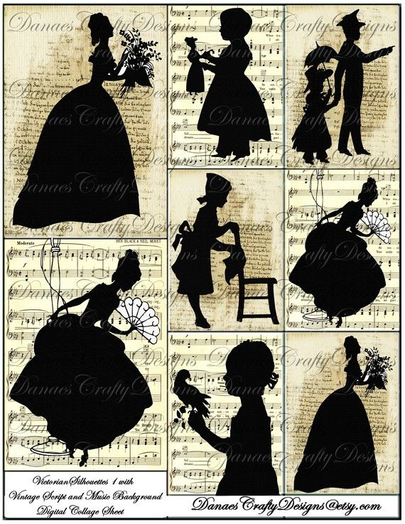 Victorian Silhouettes 1 with Vintage Script and Music Backgrounds - Digital Vintage Collage Sheet Download