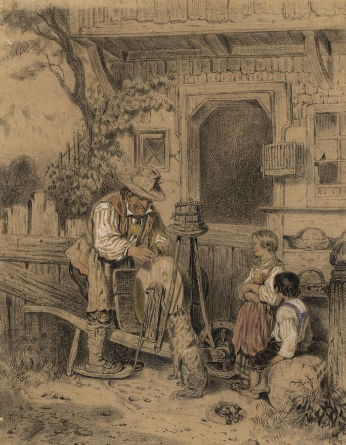 Fine 19th Century Charcoal Drawing - Knife Grinder at Work