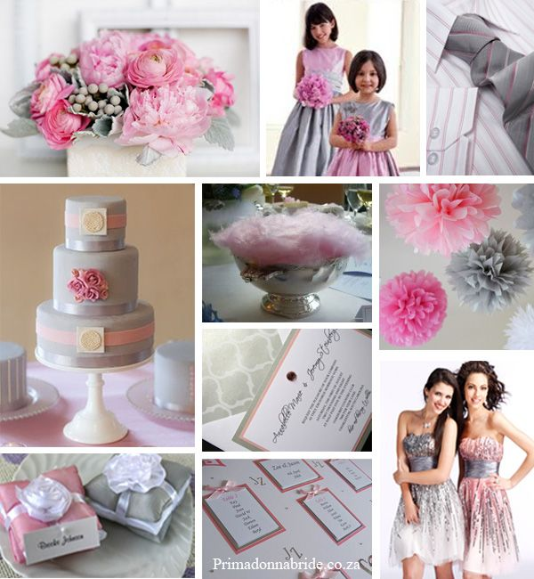 Pink, grey and silver wedding inspiration.