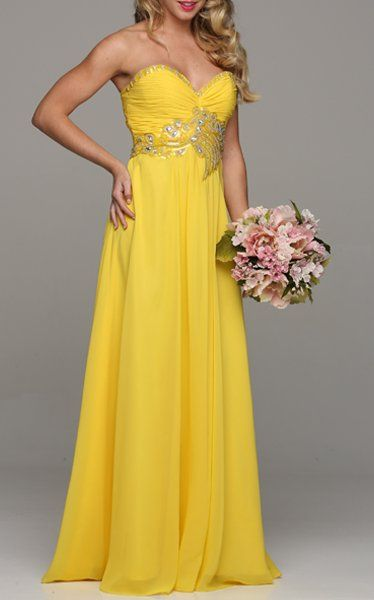 Stunning Long Chiffon Yellow Evening Dress Sweetheart Back Train $177.99