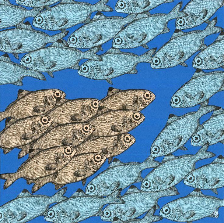 """""""Fische I oder Begegnung"""", Papiercollage von Klaus A. Becker, bedrucktes Farbpapier, 50x50 cm, 2017"""