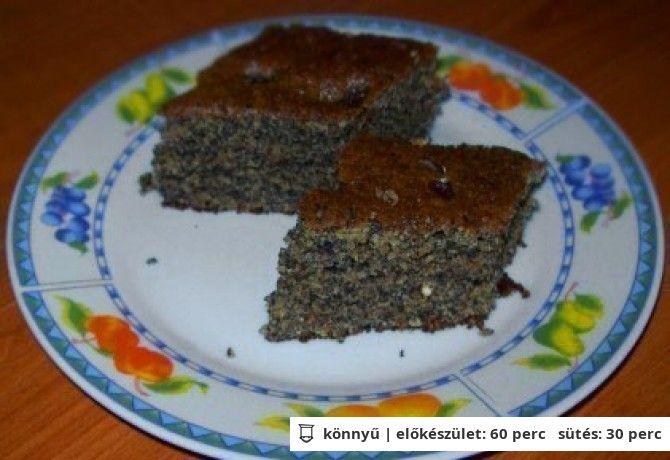 Bögrés diós-mákos-mazsolás süti