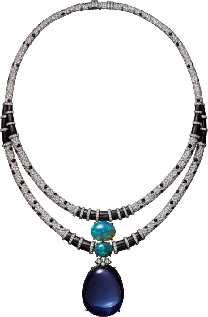 CARTIER. Necklace - platinum, one 116.79-carat oval-shaped cabochon-cut…