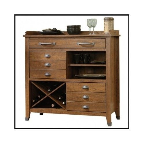 Wood-Sideboard-Buffet-Dining-Furniture-Wine-Rack-Storage-Cherry-Drawers-Cabinet