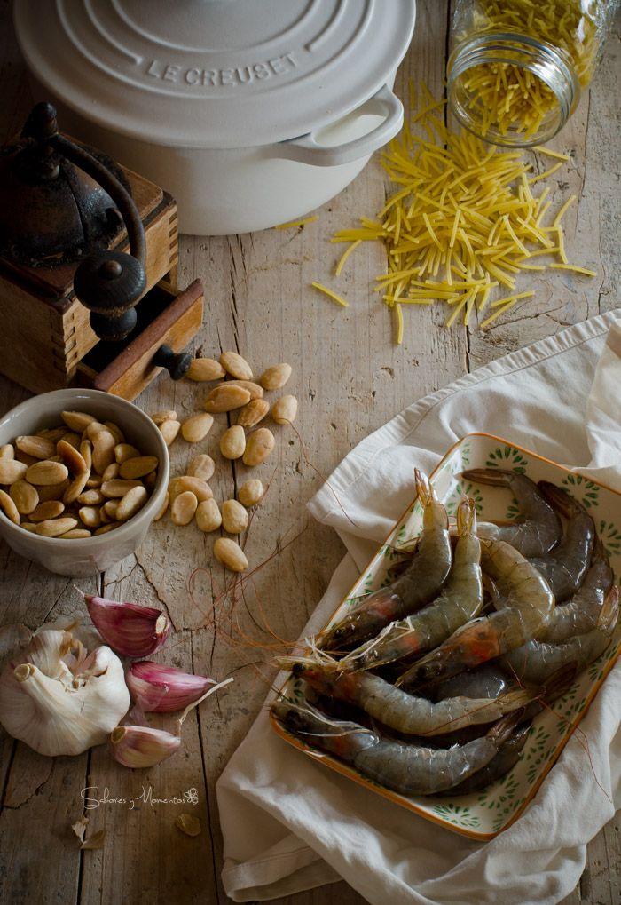 Sabores y Momentos   Fideos con langostinos {en cocotte}   http://saboresymomentos.es
