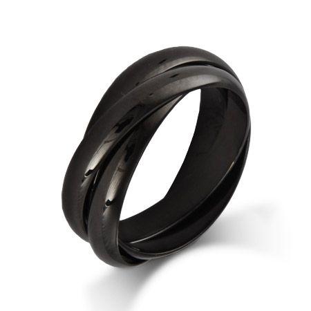 Engravable Black Plate Triple Roll Russian Wedding Ring $28