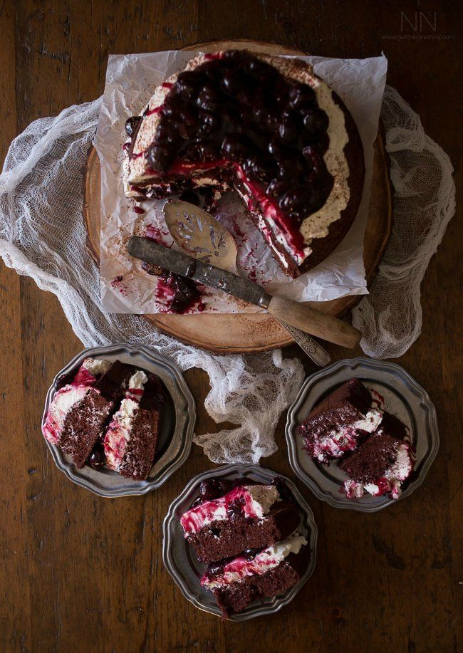 This black forest cake is the perfect showstopper of a dessert. It combines moist chocolate cake, homemade cherry filling and mascarpone whipped cream.