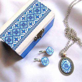 Culori albastru si albastru deschis bleu set motive traditionale