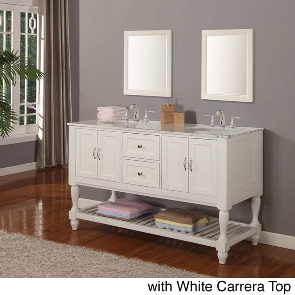 Image Gallery For Website Direct Vanity inch Pearl White Mission Turnleg Double Sink Vanity carrara white marble with mirrors Beige Off White Size Double Vanities